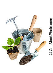 Garden tools for planting, isolated on white
