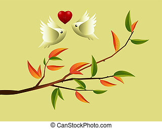 Love Concept - Valentines Day Concept, lovebirds flying...