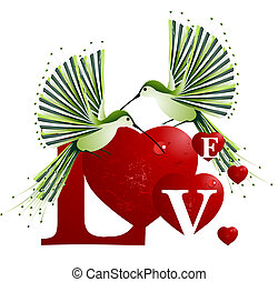 Love Concept - Valentine's Day Concept, humming bird flying...