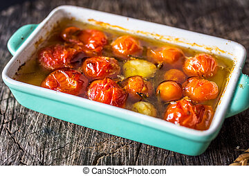 Slow Roasted Cherry Tomatoes  in Olive Oil