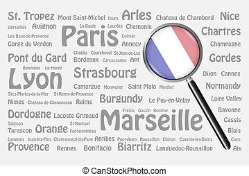 Travel destinations of France Concept - The magnifying glass...