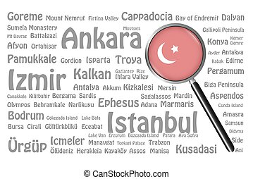 Travel destinations of Turkey Concept - The magnifying glass...