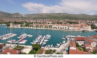 The old town of Trogir, near Split, Croatia. Aerial videography