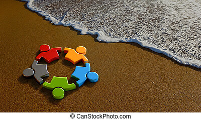 Children Group at the Beach. 3D Rendering Illustration