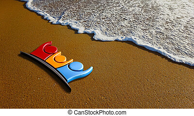 Family of Three at the Beach. 3D Rendering Illustration