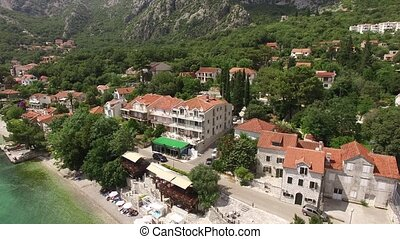 Elite hotel on the shore of Kotor Bay in Montenegro. Aerial...
