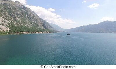 The yacht in the Bay of Kotor, aerial photography drone,...