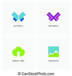 Nature logo set. Butterfly symbol, high mountains and green...