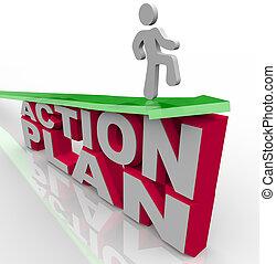 acción, plan, -, hombre, flecha, encima, palabras