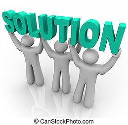 solución, -, elevación, palabra