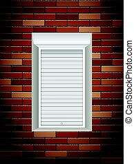 Windows with rolling shutters on brick wall