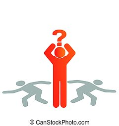 Vector illustration silhouette of a man with a question