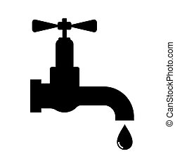 Water tap - Vector illustration of the black water tap on...