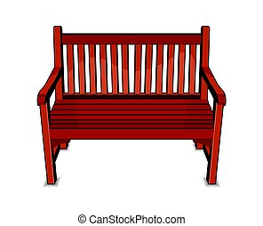Bench - Vector illustration of the wooden bench on white