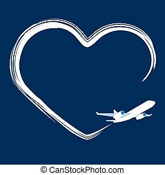 Jet plane left trace in the shape of heart