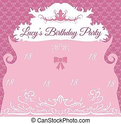 Vintage Birthday Invitation Card Template
