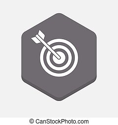 Isolated hexagonal signal with a dart board - Illustration...