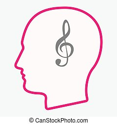 Isolated head with a g clef - Illustration of an isolated...