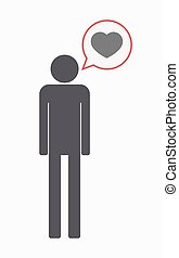 Isolated male pictogram with a heart