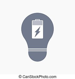 Isolated light bulb icon with a battery