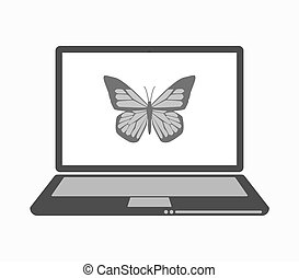 Isolated line art laptop with a butterfly