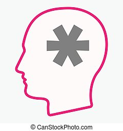 Isolated head with an asterisk - Illustration of an isolated...