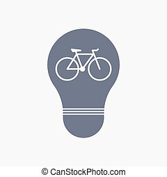 Isolated light bulb icon with a bicycle