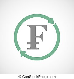 Isolated reuse icon with a swiss franc sign - Illuatration...