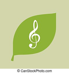 Vector green leaf icon with a g clef - Illustration of a...