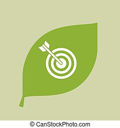 Vector green leaf icon with a dart board - Illustration of a...