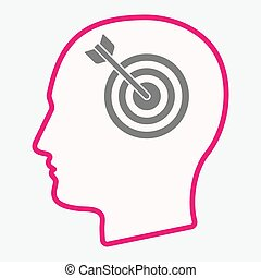 Isolated head with a dart board - Illustration of an...