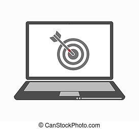 Isolated line art laptop with a dart board - Illustration of...