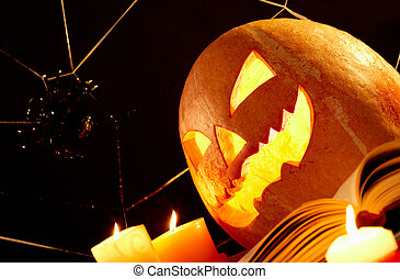 Halloween horror - Image of Halloween pumpkin with burning...