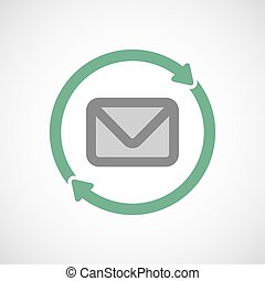 Isolated reuse icon with an envelope