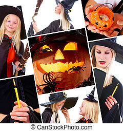 Halloween collage with pumpkin, spiders and people in black...