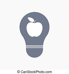Isolated light bulb icon with an apple