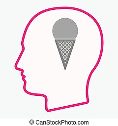 Isolated  head with a cone ice cream