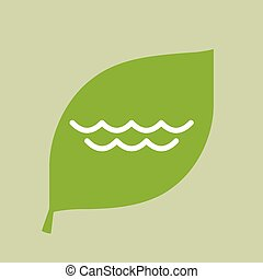 Vector green leaf icon with a water sign