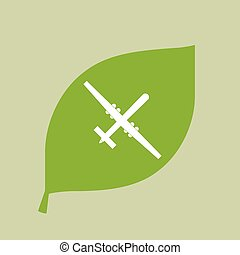 Vector green leaf icon with a war drone - Illustration of a...