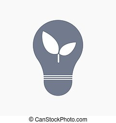Isolated light bulb icon with a plant - Illuatration of an...
