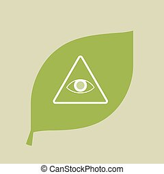 Vector green leaf icon with an all seeing eye - Illustration...