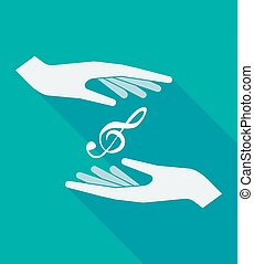 Long shadow hands with a g clef - Illustration of a long...
