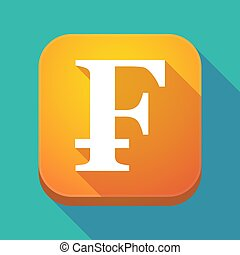 Long shadow app icon with a swiss franc sign - Illuatration...