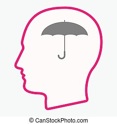 Isolated  head with an umbrella