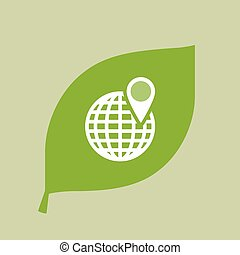 Vector green leaf icon with a world globe