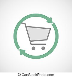 Isolated reuse icon with a shopping cart