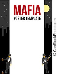 Poster of flyer template with two retro gangsters