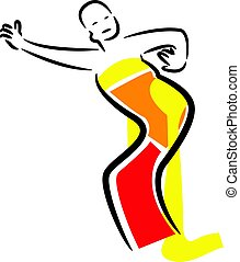 Illustration with dancing Indonesian woman dancing in...