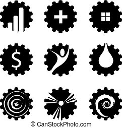 Vector Set Of Industries Signs - gears icons, vector set of...