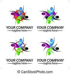 Community People Logo Vector Concept, Icon Set